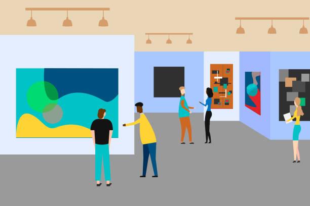 アート ギャラリー。創造的な芸術作品や博物館での展示についての人々。ベクトルの図。 - 美術館点のイラスト素材/クリップアート素材/マンガ素材/アイコン素材