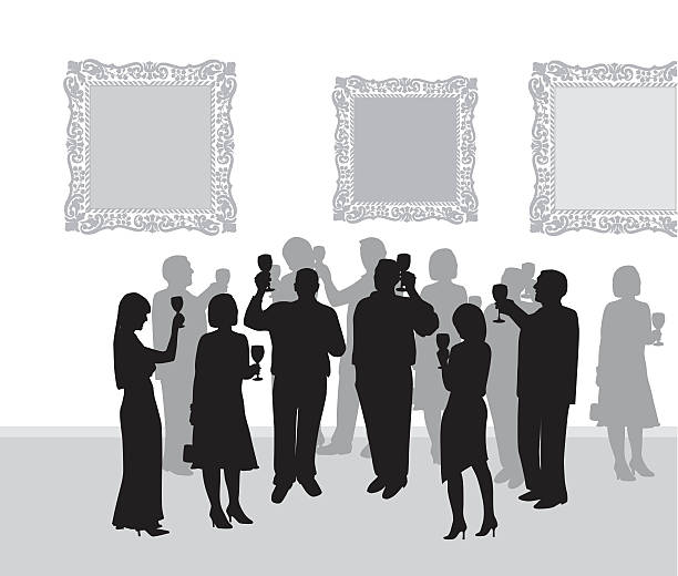 Art Gallery Reception A vector silhouette illustration of formally dressed adults raising their wine glasses in a toast in an art gallery in front of ornately framed art works. alcohol drink silhouettes stock illustrations