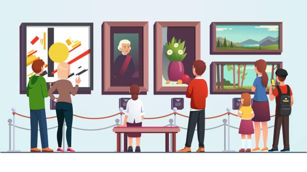 illustrations, cliparts, dessins animés et icônes de visiteurs de galerie d'art personnes homme, femme, enfant, couple et famille regardant la peinture des morceaux d'art tout en s'asseyant, marchant et restant à l'oeuvre d'art de musée. illustration plate de vecteur - museum