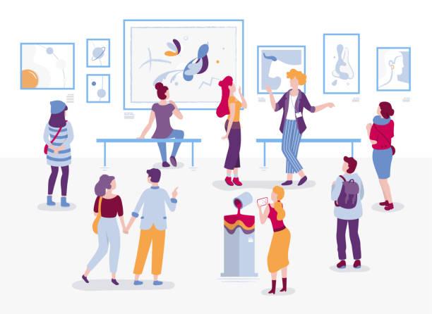 画廊絵画ベクトル平面イラストを見て訪問者を。モダンなアート スタイルで展示漫画のキャラクターで人々。男性と女性の観光客と芸術の博物館でガイド。 - 美術館点のイラスト素材/クリップアート素材/マンガ素材/アイコン素材