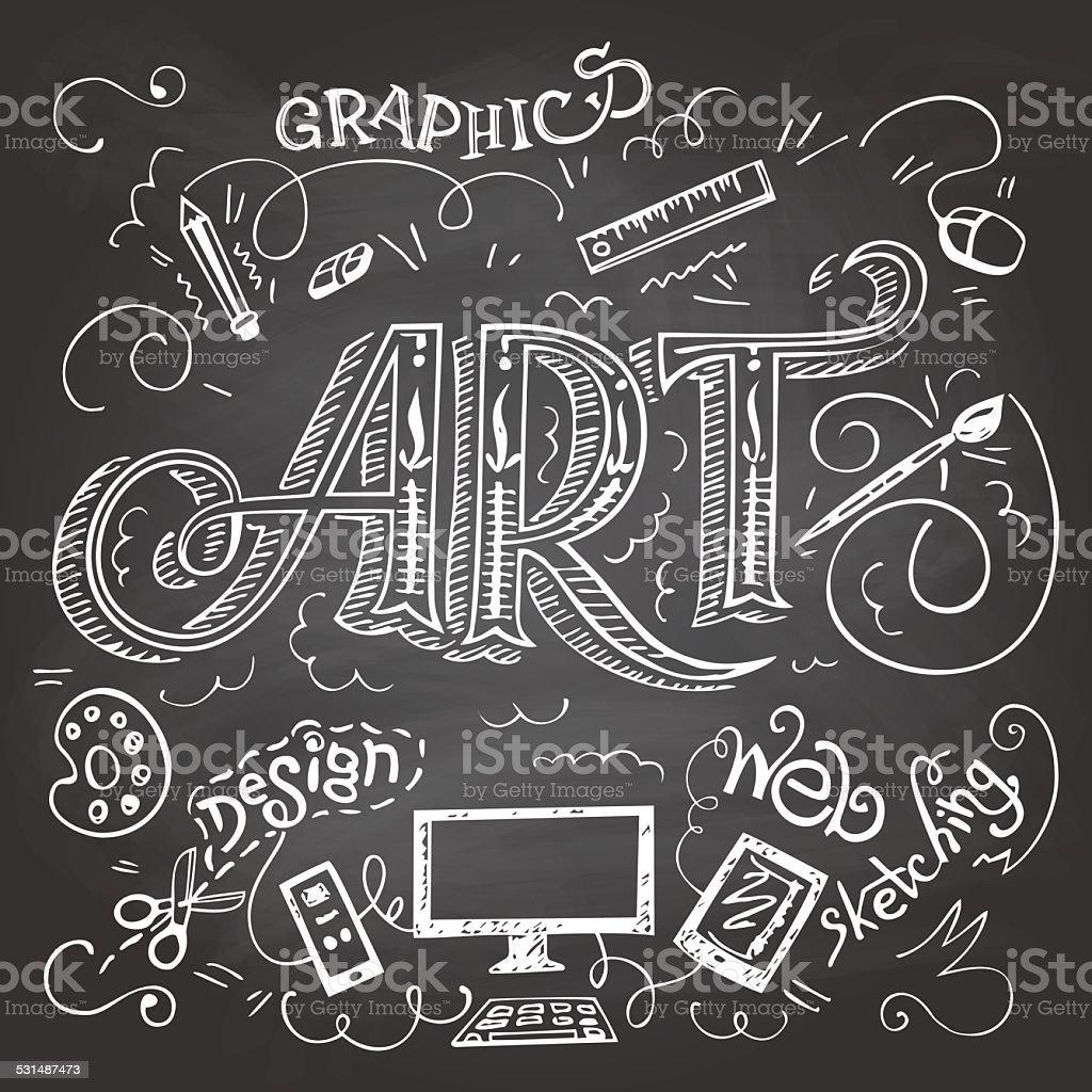 Arte scritta a mano tipografia su chalkboard immagini for Immagini vector