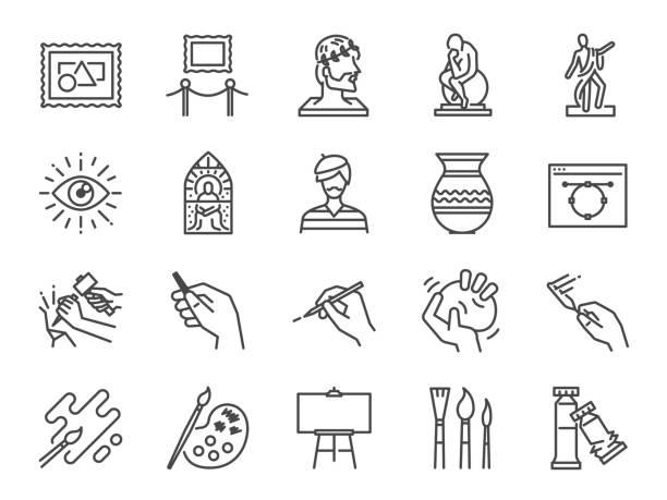 illustrations, cliparts, dessins animés et icônes de art jeu d'icônes. inclus les icônes comme artiste, couleur, peinture, sculpture, statue, image, vieux maître, artistique et bien plus encore. - art