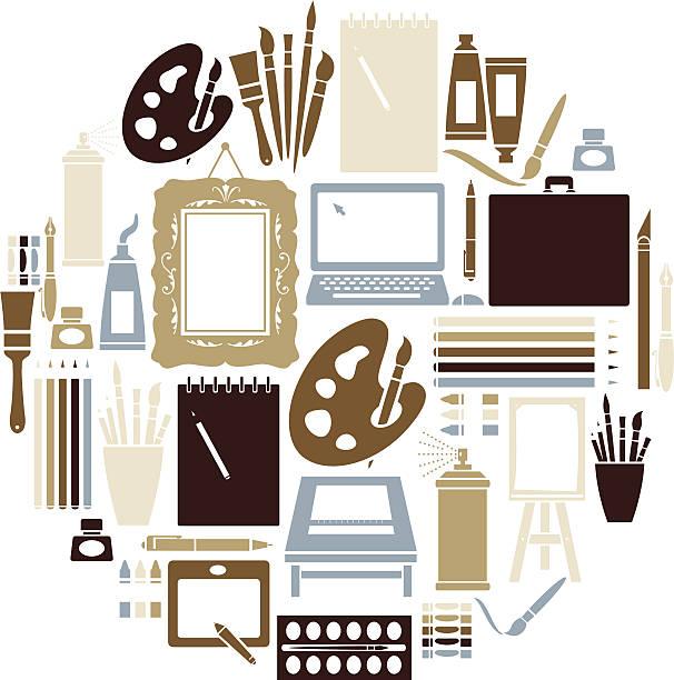 art icon-set - palettenbilderrahmen stock-grafiken, -clipart, -cartoons und -symbole