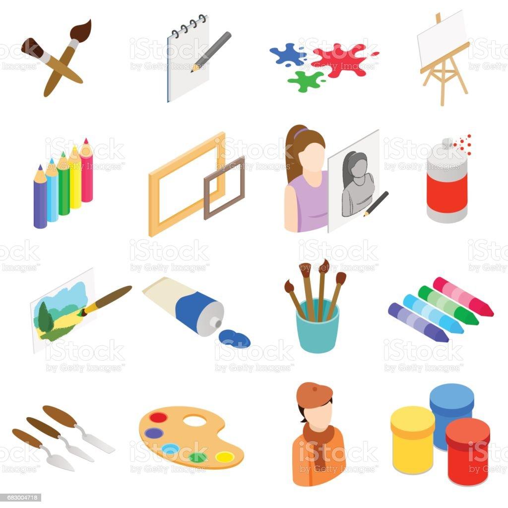 Art icons set, isometric 3d style art icons set isometric 3d style - arte vetorial de stock e mais imagens de boina royalty-free