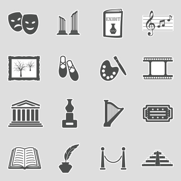 illustrations, cliparts, dessins animés et icônes de icônes de l'art. autocollant design. illustration vectorielle. - camera sculpture