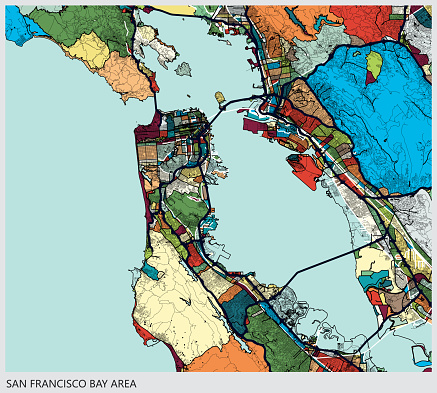 art illustration background,san francisco bay area map