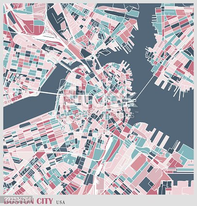 art illustration of boston city map
