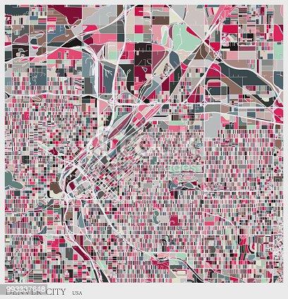 art illustration of Denver city map