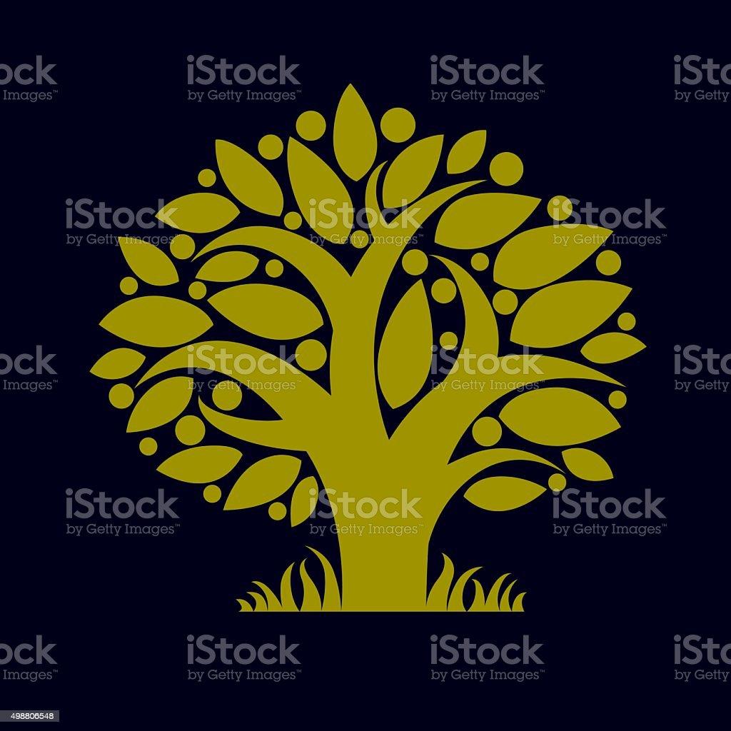 Ilustración Art de resorte verde ecología símbolo hermoso árbol - ilustración de arte vectorial