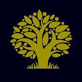 Art illustration of green spring tree, stylized ecology symbol