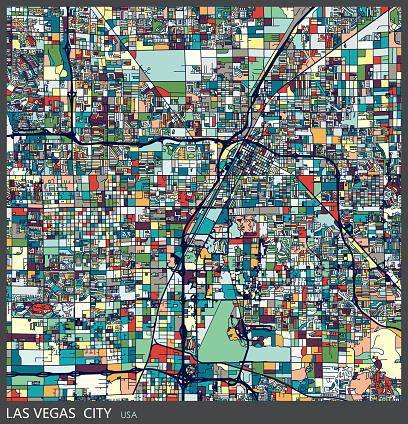 art illustration of Las vegas city map