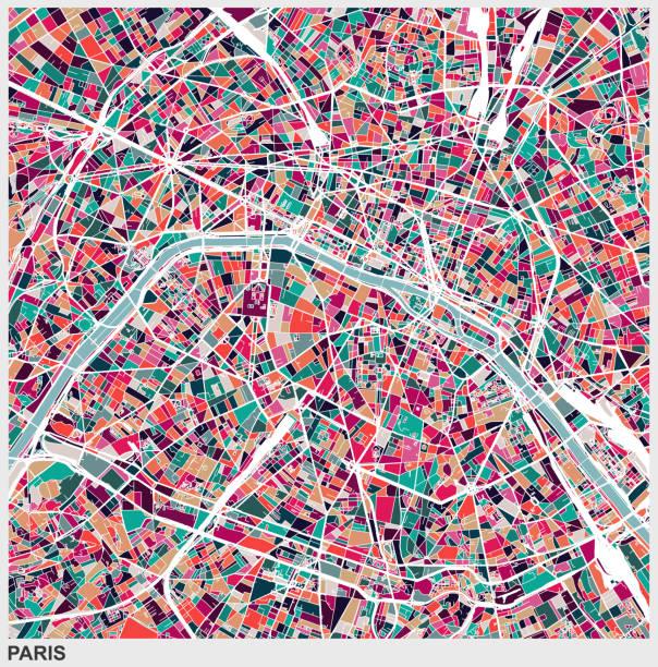 kunst-abbildung-stil-map der stadt paris - städtische mode stock-grafiken, -clipart, -cartoons und -symbole
