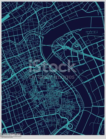 art illustration style map of Shanghai