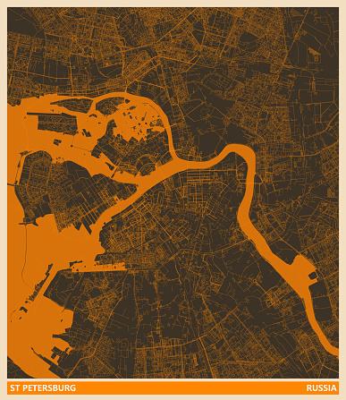 art  illustration style map,St Petersburg  city,Russia