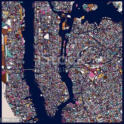 art illustration style New York city map