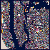 art illustration style New York city map