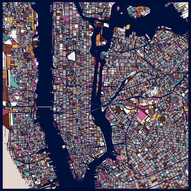 art illustration style new york city map - new york map stock illustrations, clip art, cartoons, & icons
