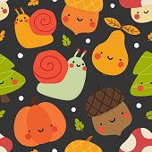 Autumn seamless pattern, cute drawing cartoon characters, vector set of autumn, acorn, snail, pumpkin, pear, mushroom, pine tree. nursery seamless pattern, scandinavian thanksgiving day