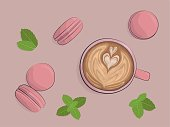 Art Latte and macarons in pink colors with mint leaves. Flat lay. Vector illustration.
