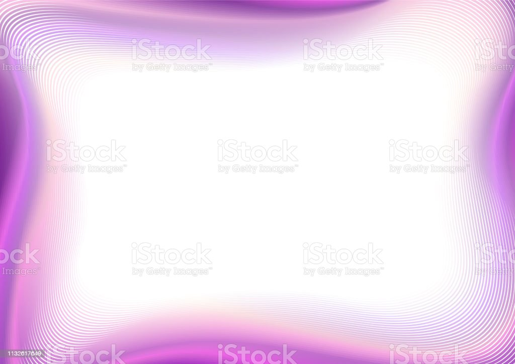 Art line border design. Wavy frame, white text place. Bright purple, bordo, pink gradient. Multicolored pattern, vector background. Modern template for album page, postcard, presentation, promotion. EPS10 illustration векторная иллюстрация