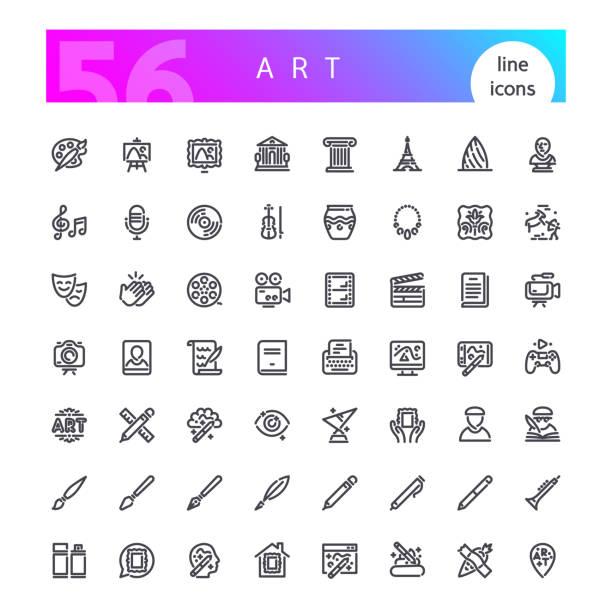illustrations, cliparts, dessins animés et icônes de ensemble d'icônes art line - camera sculpture