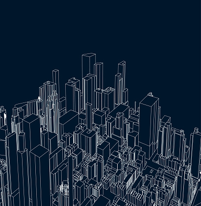 art line structure style city architecture poster background