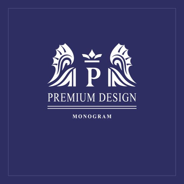 Art logo design. Capital letter P. Elegant emblem with crown, dragon wings. Beautiful creative monogram. Graceful sign for Royalty, business card, Boutique, Hotel, Heraldic. Vector illustration vector art illustration