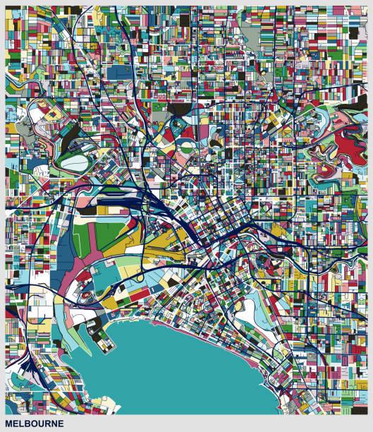 art map style melbourne city - melbourne stock illustrations