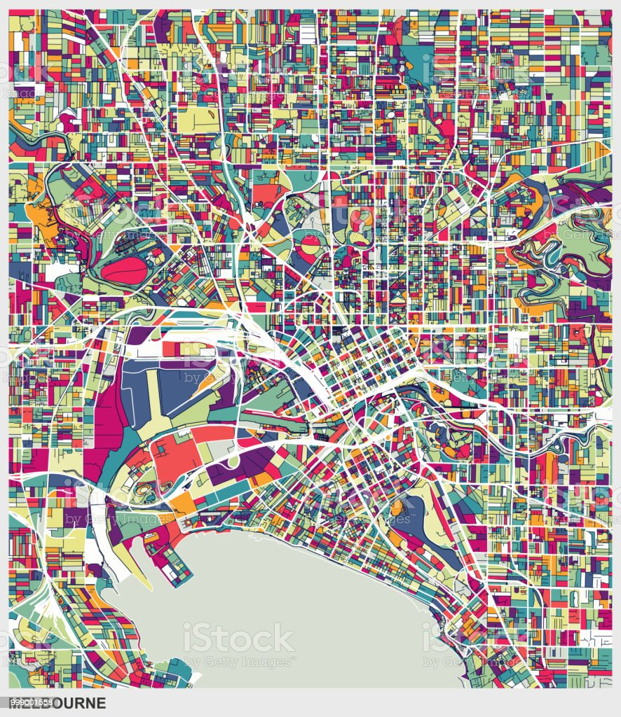 Melbourne Australia City Map.Art Map Style Melbourne City Stock Vector Art More Images Of