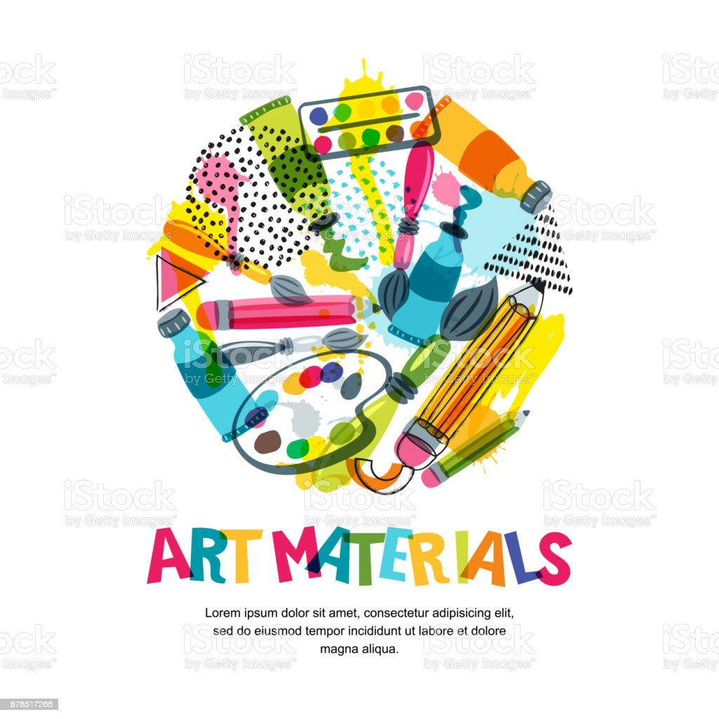 Art materials for craft design and creativity. Vector isolated illustration in circle shape. Banner, poster background vector art illustration