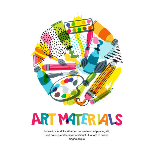 art materials for craft design and creativity. vector isolated illustration in circle shape. banner, poster background - art and craft stock illustrations