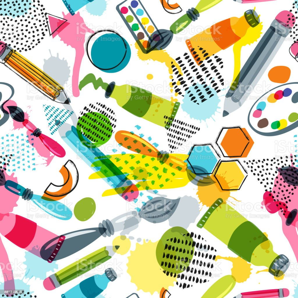 Art Materials For Craft Design Creativity Vector Doodle Seamless Pattern Background With Items
