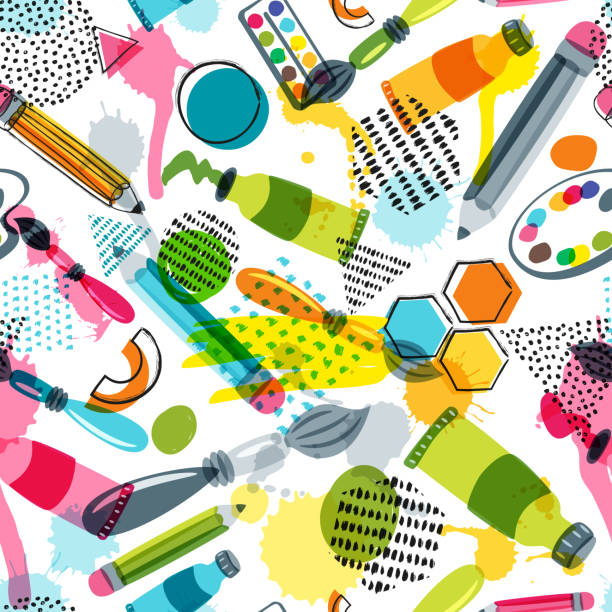 Art materials for craft design, creativity. Vector doodle seamless pattern. Background with items for handmade activity Art materials for craft design and creativity. Vector doodle seamless pattern. Creative background with pencils, brushes, watercolor paints and other items for handmade activity. art and craft stock illustrations