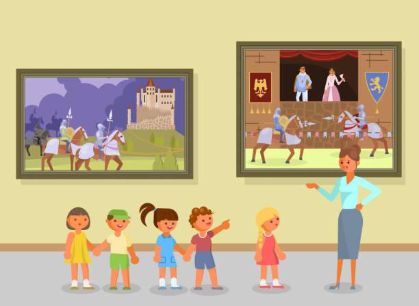illustrations, cliparts, dessins animés et icônes de illustration vectorielle de musée d'art excursion - museum