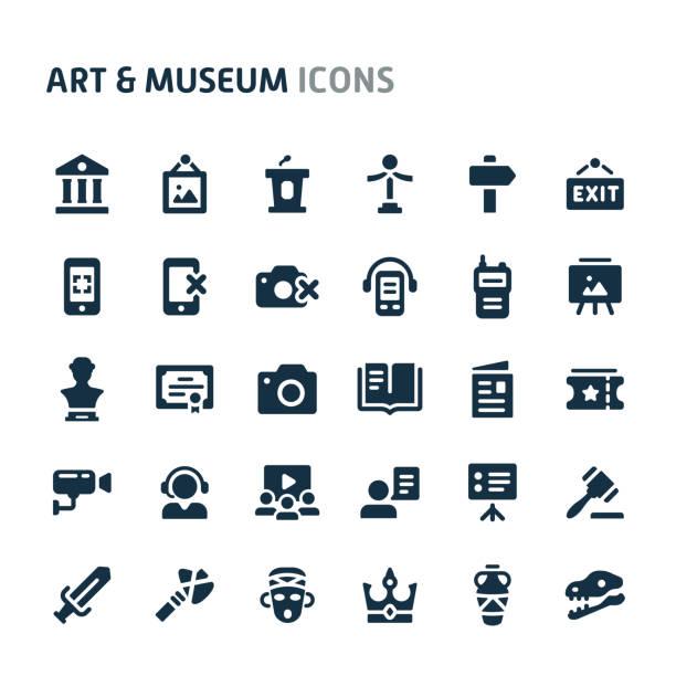 illustrations, cliparts, dessins animés et icônes de art & museum vector icon set. série d'icônes de fillio black. - museum