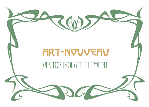Art nouveau abstract framework from the bound lines. Vector isolate element for your design. Vintage frame. label.