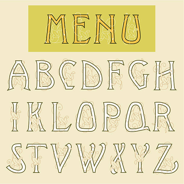 art nouveau alphabet - art nouveau stock illustrations, clip art, cartoons, & icons