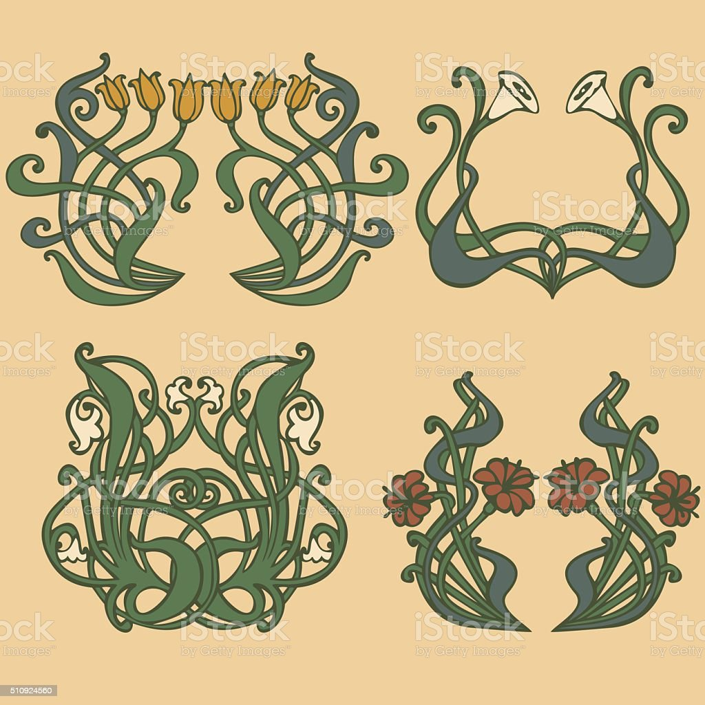 Art nouveau, art deco, modern, vintage elements
