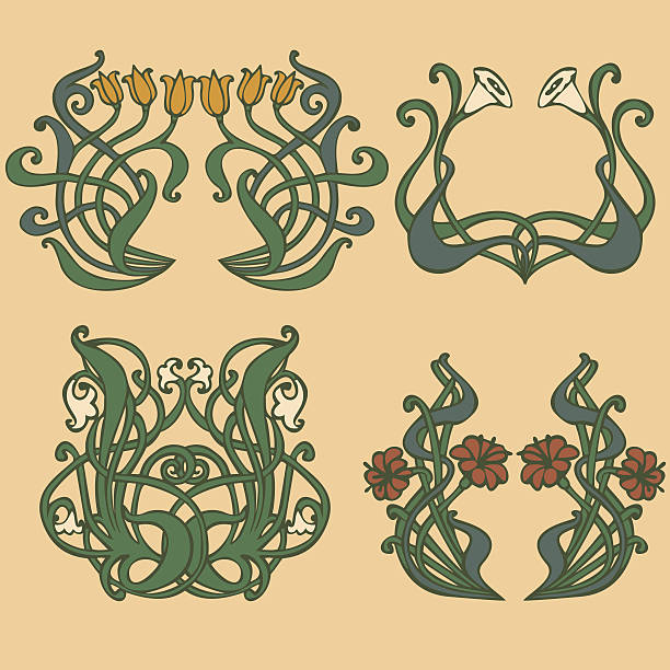 art nouveau, art deco, modern, vintage elements - art nouveau stock illustrations, clip art, cartoons, & icons