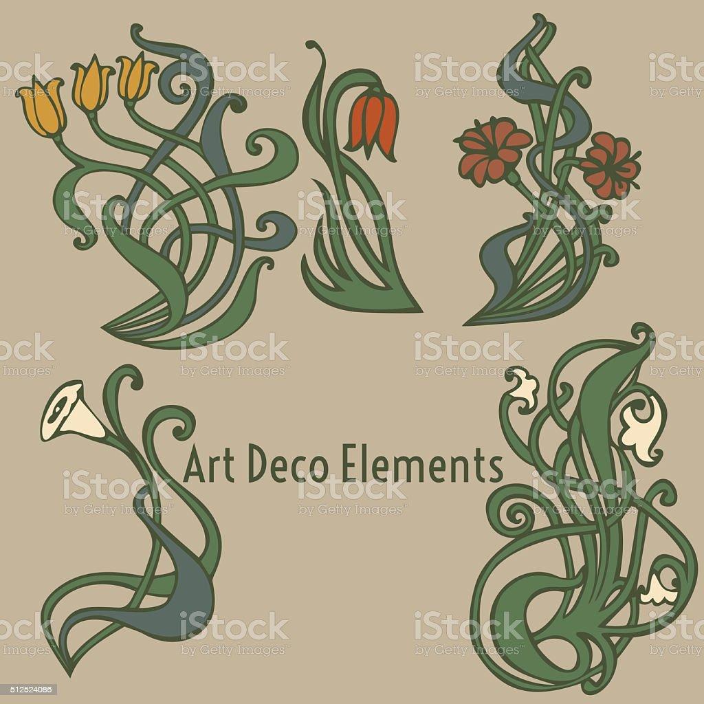 Art Nouveau Art Deco Modern Vintage Elements Stock