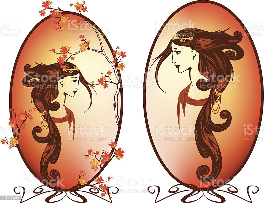 art nouveau autumn vector art illustration