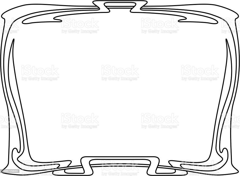 art nouveau black ornamental decorative frame vector art illustration