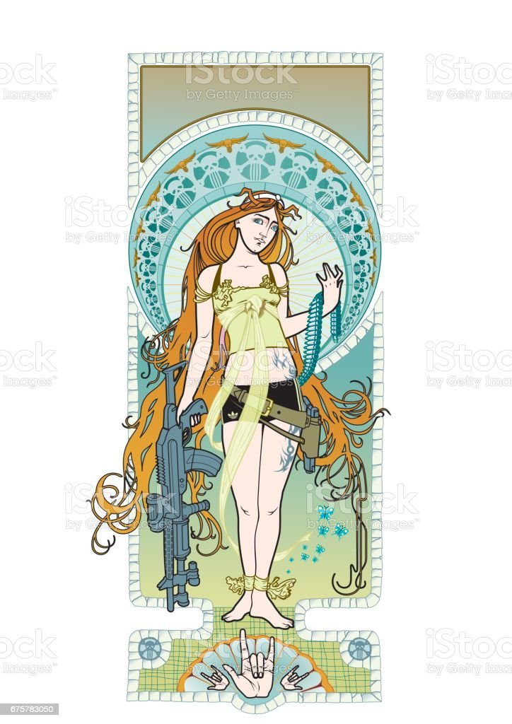 art nouveau chick vector art illustration