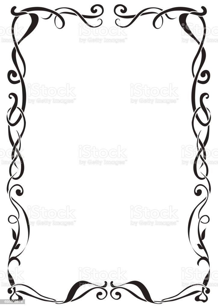 Art Nouveau decorative monochrome A4 format frame with text place