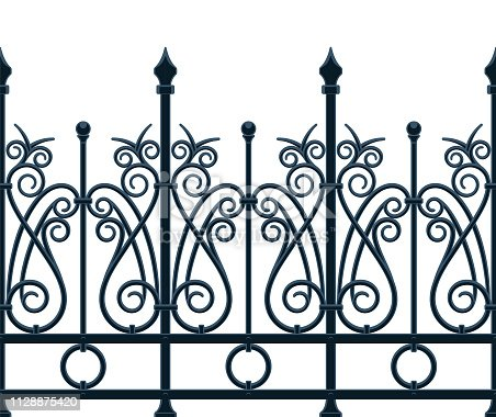 Art Deco fence wrought iron in seamless