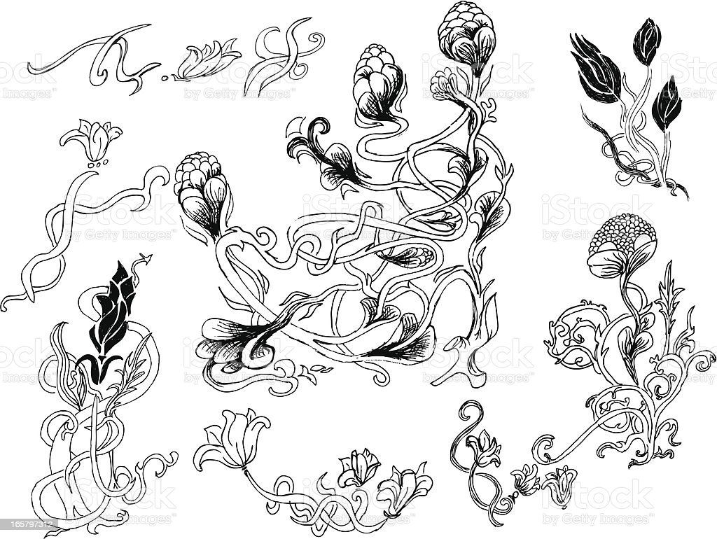 how to draw art nouveau flowers