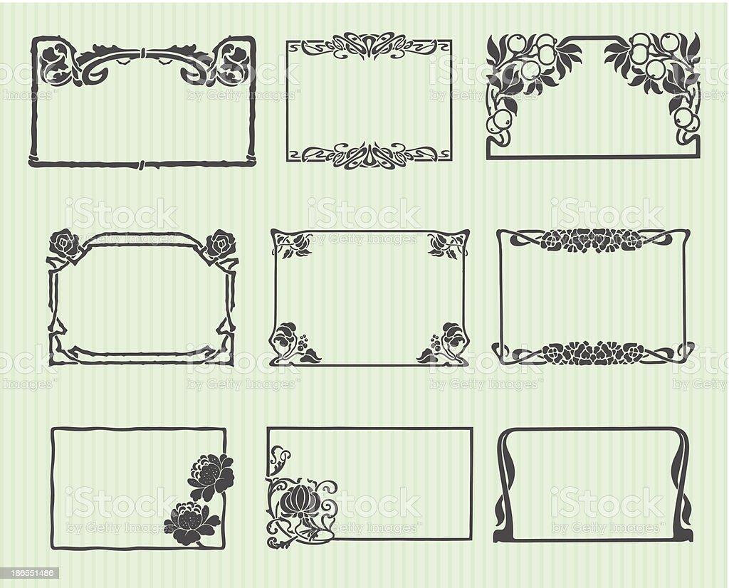 Art Nouveau frames vector art illustration
