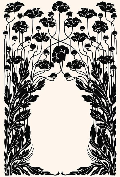 Art nouveau garden border Border of flowers and acanthus  edwardian style stock illustrations