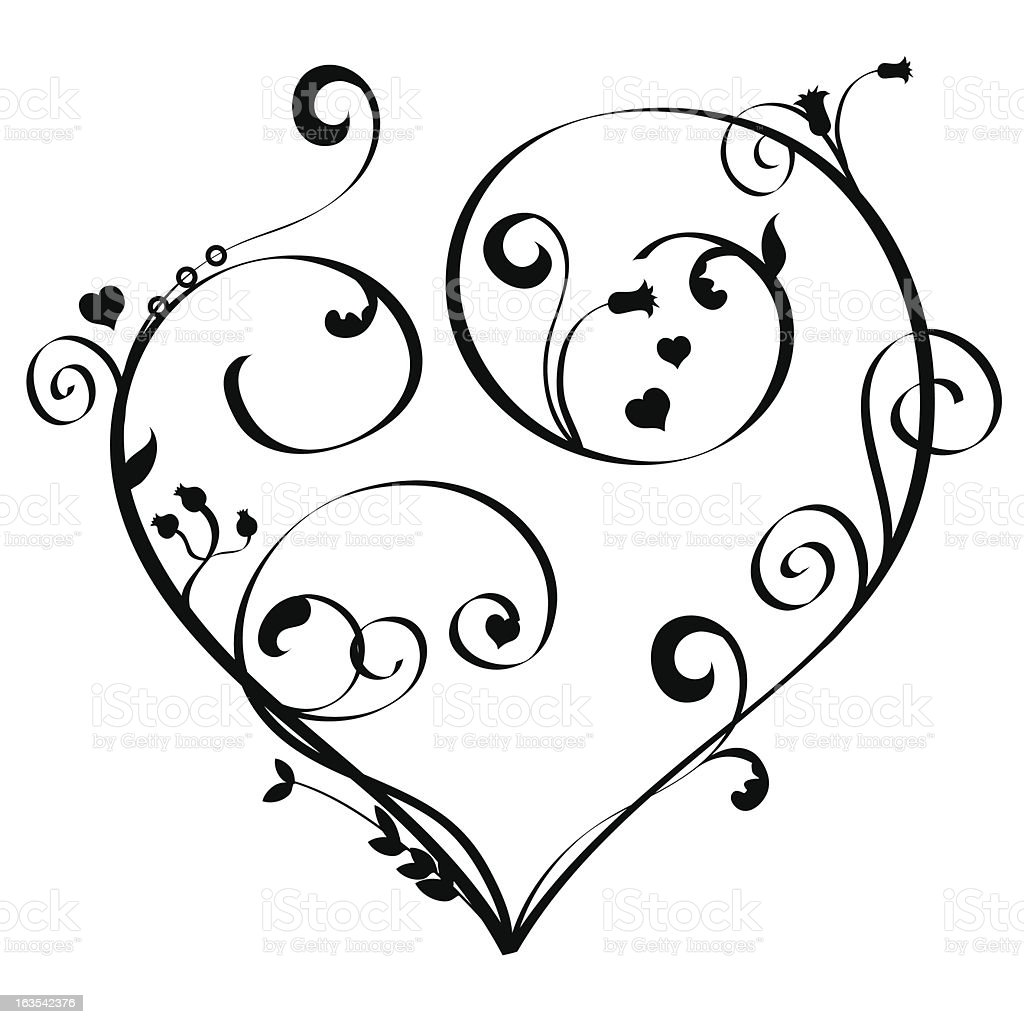 Line Drawing Heart Shape : Art nouveau heart stock vector more images of black