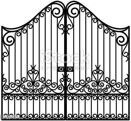 Art Nouveau gate illustration in vector.